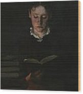 Woman Reading Wood Print by Signe Scheel