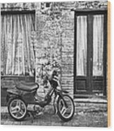 Woman Rushes From Scooter Wood Print