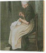 Woman Sewing Wood Print