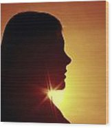 Woman Silhouette Wood Print