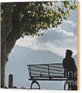 Woman Sitting On A Bench Wood Print