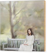Woman Sitting On Park Bench Wood Print by Stephanie Frey