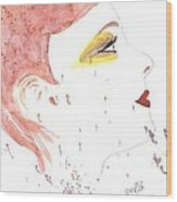 Woman Smile Watercolor Painting Wood Print