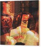Woman Spirit At The Door  Wood Print by Fania Simon
