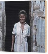Woman Standing-up Outside Her Home Wood Print