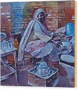 Woman Tea Wood Print