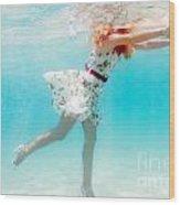 Woman Underwater Wood Print