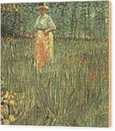 Woman Walking In A Garden Wood Print