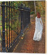 Woman Walking In Long White Gown Wood Print