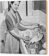 Woman Washing Dishes In Kitchen Sink, (b&w), Elevated View Wood Print by George Marks