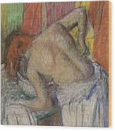 Woman Washing Her Back Wood Print by Edgar Degas