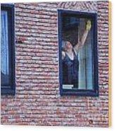 Woman Window Cleaner Wood Print