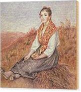 Woman With A Bundle Of Firewood Wood Print