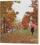 Woman With A Red Umbrella Wood Print