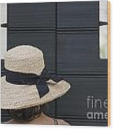 Woman With A Straw Hat Wood Print