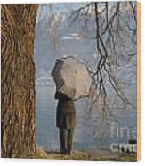 Woman With An Umbrella Wood Print