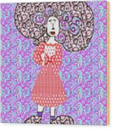 Woman With Crazy Hair Wood Print