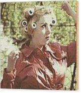 Woman With Rain Coat And Curlers Wood Print by Joana Kruse
