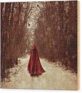Woman With Red Cape Walking In Woods Wood Print