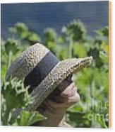 Woman With Straw Hat Wood Print