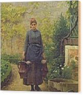Woman With Watering Cans Wood Print