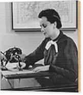 Woman Writing At Desk Wood Print