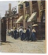 Women Leaving Work, 1895 Wood Print