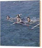 Women Swim In A Municipal Swimming Pool Wood Print by B. Anthony Stewart