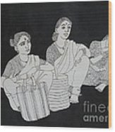 Women Waiting For The Bus Wood Print