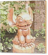 Wood Carving Of Stitch Wood Print