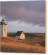 Wood End Lighthouse Landscape Wood Print