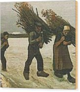 Wood Gatherers In The Snow Wood Print