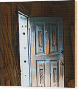Wood Workers Door In Truchas New Mexico Wood Print