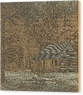 Woodcut Cabin Wood Print by Jim Finch
