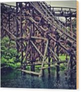 Wooded #rollercoaster At #cedarpoint In Wood Print by Pete Michaud