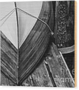 Wooden Boat On The Dock Wood Print