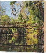 Wooden Bridge Over The Hillsborough River Wood Print