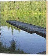 Wooden Dock On Lake Wood Print