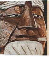 Wooden Head With Cigarette Wood Print
