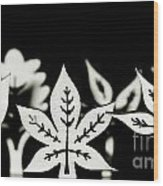 Wooden Leaf Shapes In Black And White Wood Print