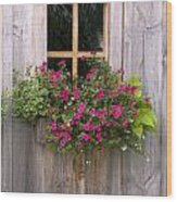 Wooden Shed With A Flower Box Under The Wood Print by Michael Interisano