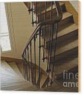 Wooden Stairs In Traditional Parisian Building Wood Print