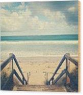 Wooden Steps At Beach Wood Print