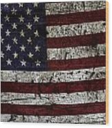 Wooden Textured Usa Flag2 Wood Print