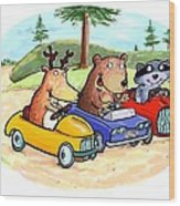 Woodland Traffic Jam Wood Print