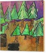 Woods Cut Logs And A Sunset Wood Print