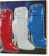 World Domination In Red White And Blue Boots Wood Print