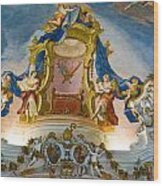 World Heritage Frescoes Of Wieskirche Church In Bavaria Wood Print