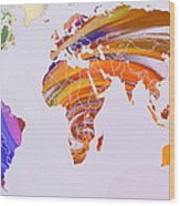 World Map Abstract Painted Wood Print