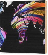 World Map Abstract Painting 2 Wood Print